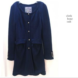 FREE PEOPLE 🌼 Vintage Wool-Blend Navy Blue COAT